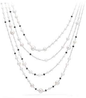 David Yurman Oceanica Pearl and Bead Link Necklace with Pearls and Black Spinel