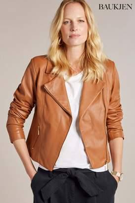 Next Womens Baukjen Tan Everyday Leather Biker Jacket