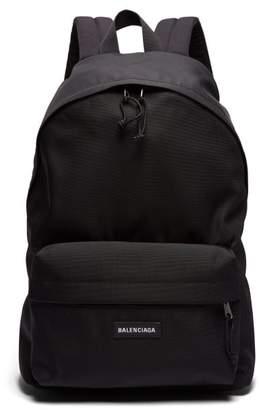 Balenciaga Logo Tab Canvas Backpack - Mens - Black
