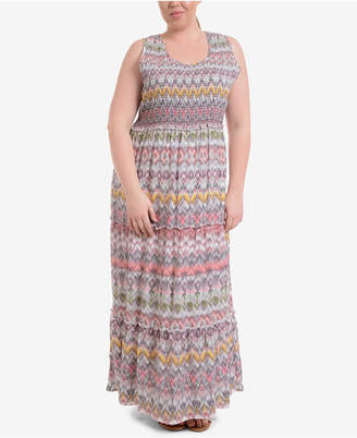 NY Collection Plus Size Smocked Maxi Dress