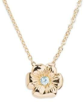Aurelie Bidermann Blue Topaz 18K Gold Floral Pansy Pendant Necklace