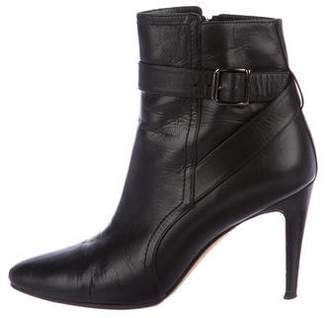 Manolo Blahnik Leather Round-Toe Ankle Boots