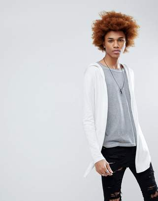 Asos Design Knitted Hooded Cardigan With Curved Hem In Icy Gray