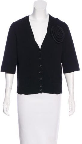 Marc Jacobs Marc Jacobs Wool & Cashmere-Blend Three-Quarter Sleeve Cardigan