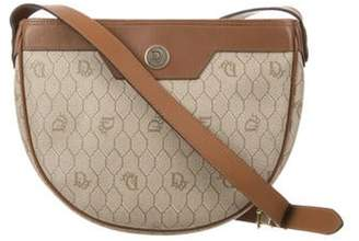 Christian Dior Leather-Trimmed Honeycomb Crossbody Bag Khaki Leather-Trimmed Honeycomb Crossbody Bag