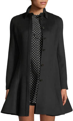 Valentino Long-Sleeve Button-Front Flare Wool-Cashmere Coat