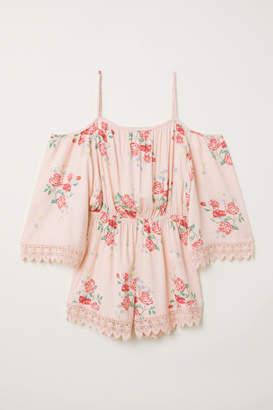 H&M Open-shoulder Jumpsuit - Pink