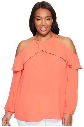 MICHAEL Michael Kors Size Cold Shoulder Flounce Top Women's Clothing