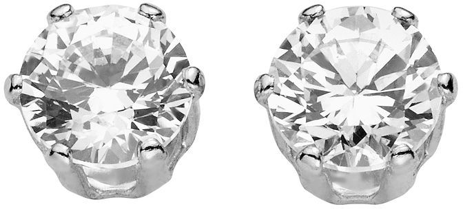 Silver tone round cubic zirconia stud earrings