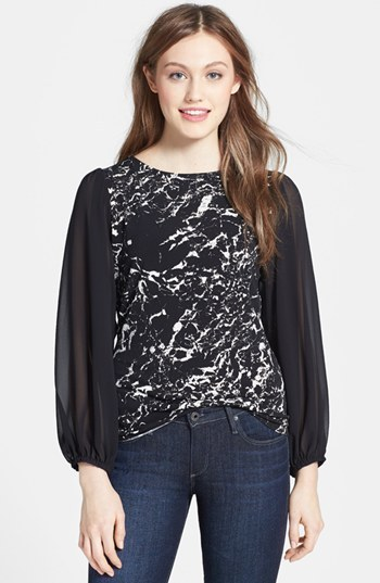 Vince Camuto Marble Print Chiffon Sleeve Knit Top