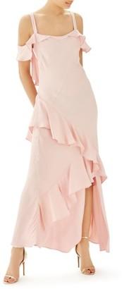 Women's Topshop Bride Cold Shoulder Ruffle Gown $240 thestylecure.com