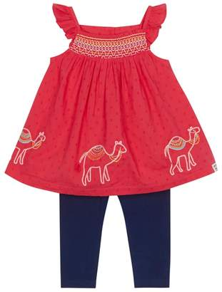 Mantaray Baby Girls' Red Embroidered Camel Tunic And Navy Leggings Set