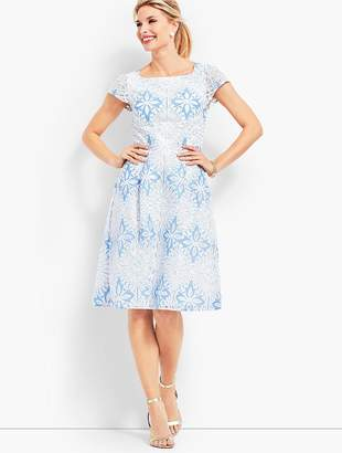 Talbots Flower Lace Jacquard Fit & Flare Dress
