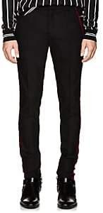 Balmain Men's Velvet-Striped Wool Skinny Trousers - Black
