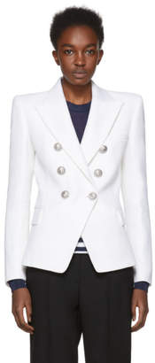 Balmain White Six-Button Blazer