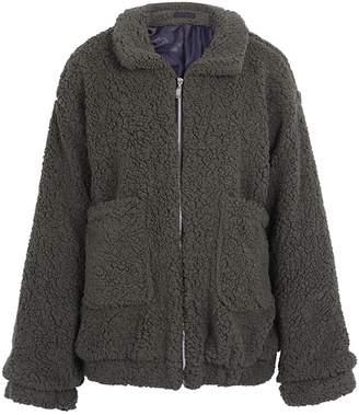 BerryGo Women's Faux lambswool Fluffy Teddy Bear Coat Outwear Light ,L