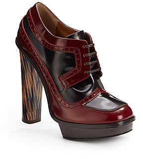 Fendi Jane Eyre Bicolor Patent Leather Lace-Up Ankle Boots