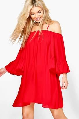 boohoo Montana Bell Sleeve Cold Shoulder Dress