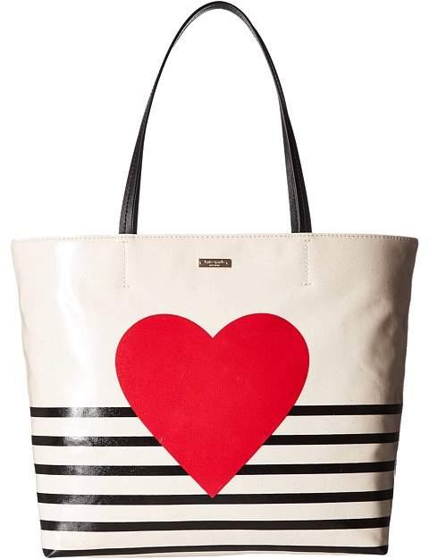 Kate Spade New York - Yours Truly Heart Stripe Hallie Handbags