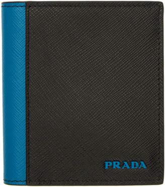 Prada (プラダ) - Prada ブラック & ブルー サフィアーノ アクティブ ウォレット