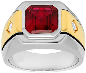 JCPenney FINE JEWELRY Mens Lab-Created Ruby & White Sapphire Ring