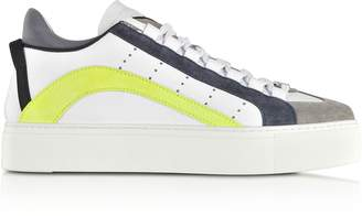 DSQUARED2 White, Blue and Neon Yellow Maxi Sole Men's Sneakers