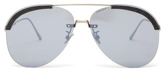 Bottega Veneta Aviator Acetate Sunglasses - Mens - Silver
