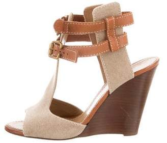 Chloé Leather-Trimmed Peep-Toe Wedges