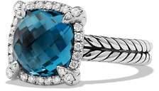 David Yurman Châtelaine Pavé Bezel Ring with Hampton Blue Topaz and Diamonds