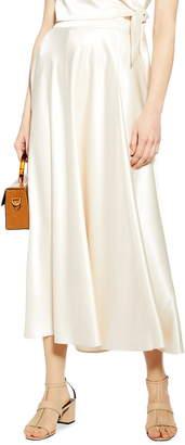 Topshop Satin Midi Skirt