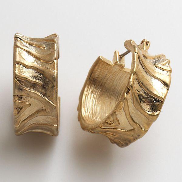 Dana Buchman Gold-Tone Zebra Hoop Earrings