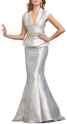 Mac Duggal Cap Sleeve Peplum Evening Gown