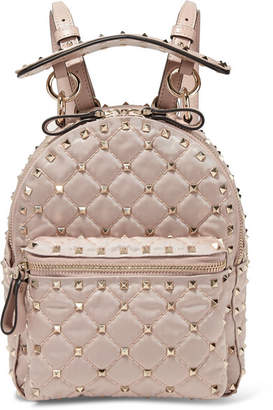 Valentino Garavani The Rockstud Spike Leather-trimmed Quilted Satin-twill Backpack