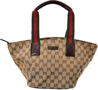 Gucci Brown Gg Canvas & Leather Small Tote