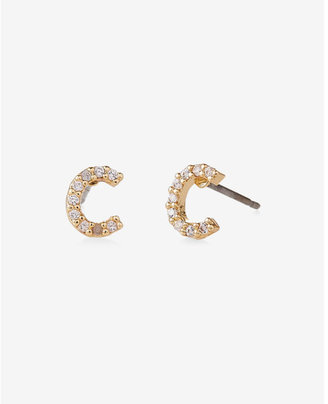 Express Pave C Initial Stud Earrings $14.90 thestylecure.com