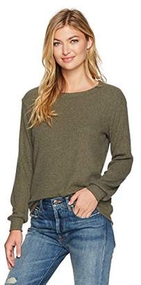 Michael Stars Women's Madison Brushed Sweaterrib Long Sleeve Scoop Neck Pullover