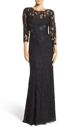 Adrianna Papell Illusion Yoke Lace Gown $349 thestylecure.com