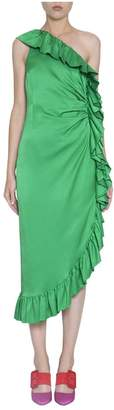 ATTICO Satin Ruffled Dress