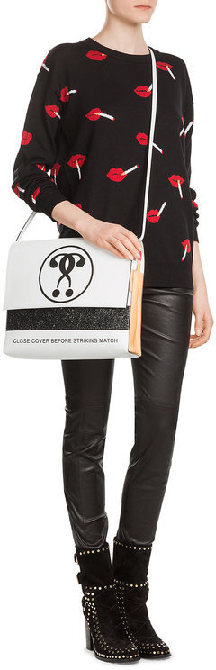 MoschinoMoschino Printed Leather Shoulder Bag
