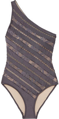 Zimmermann Lovelorn One-shoulder Lace-paneled Swimsuit - Navy
