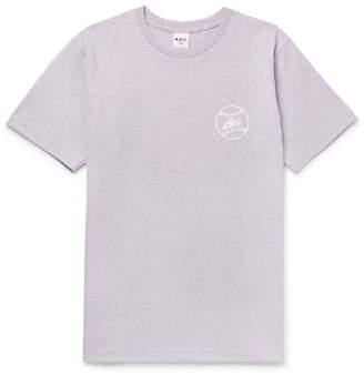 A.P.C. Arrol Slim-fit Logo-print Cotton-blend Jersey T-shirt - Purple