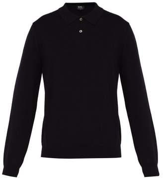 A.P.C. Jay Wool Blend Jersey Polo Shirt - Mens - Dark Navy