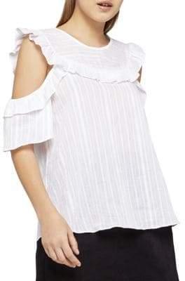 BCBGeneration Striped Cold Shoulder Cotton Top