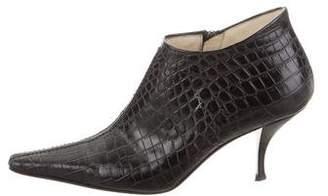 Prada Embossed Leather Pointed-Toe Booties