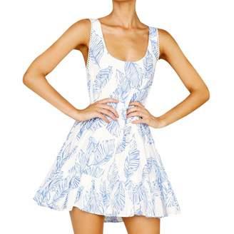 75e53063687bb DODUMI Women's Boho Mini Dress Lace Floral Printing Backless Dress V Neck  3/4 Sleeve