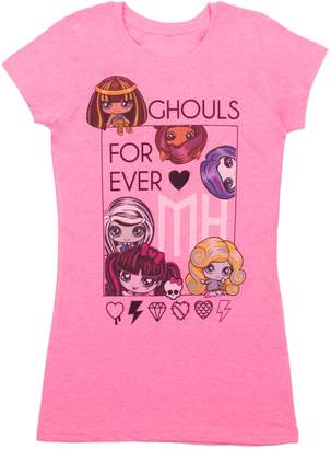 Monster High Girls Ghouls Forever Short Sleeve T-Shirt, Bright Pink Mix
