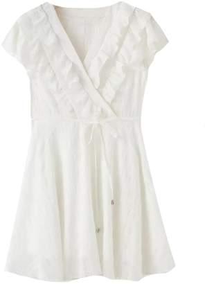 Goodnight Macaroon 'Dobie' Ruffled Tied Waist Mini Dress (2 Colors)