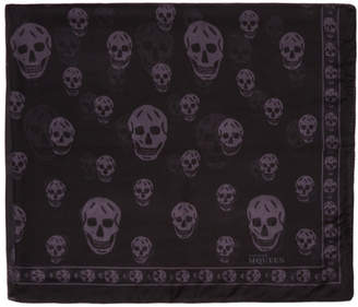 Alexander McQueen Black and Grey Silk Skull Scarf