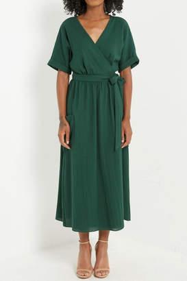 Mai Tai Linen Kimono-Wrap Midi-Dress