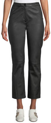 St. John Stretch Leather Cropped Flared Pants